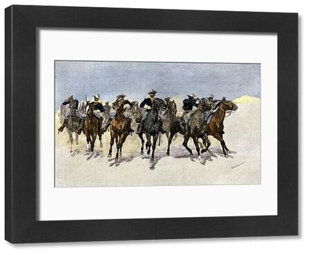 Captain Dodge's black troopers to the rescue in the west. Hand-colored woodcut of a 19th-century Frederic Remington illustration