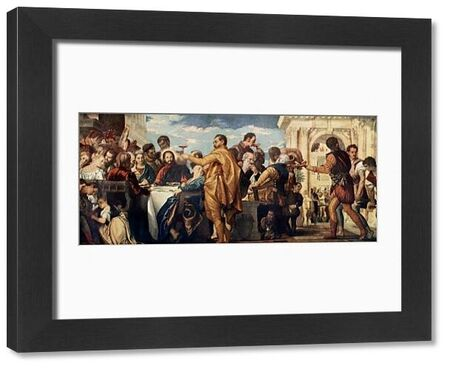 The wedding at Cana, where Jesus turned water into wine. Printed halftone reproduction of a Veronese painting