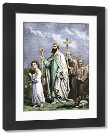 Saint Patrick journeying to Tara to convert the Irish, 5th century AD. Hand-colored engraving of a 19th-century illustration
