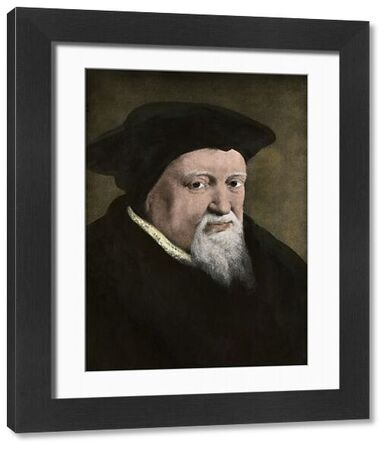 Swiss religious reformer Ulrich Zwingli. Hand-colored halftone reproduction of a portrait