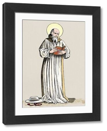 Saint Bonaventure, prelate of Seraphic Order. Digitally colored woodcut reproduction of a fresco by John of Florence