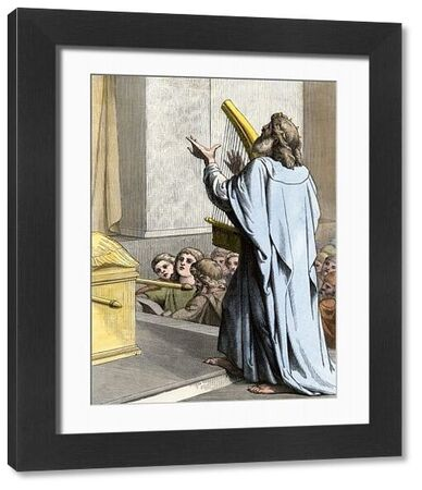 King David playing the harp in ancient Israel. Hand-colored woodcut of a 19th-century illustration