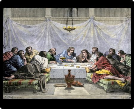 Jesus offering the Disciples wine at the Last Supper. Hand-colored woodcut of a 19th-century illustration