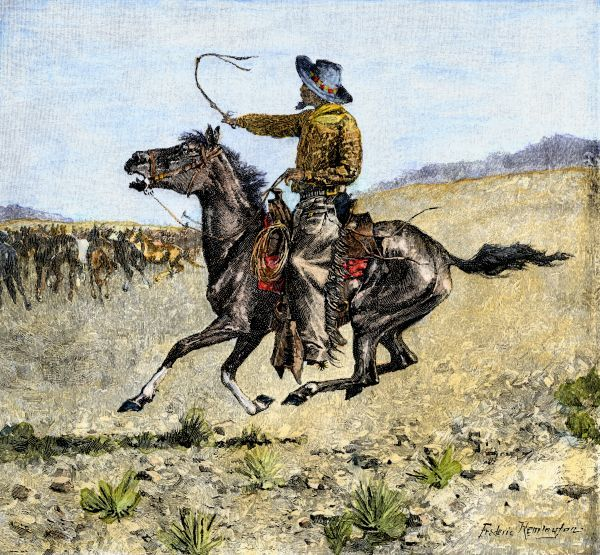 Cowhand rounding up cattle mixed in with the horse herd. Hand-colored engraving of a 19th-century Frederic Remington illustration