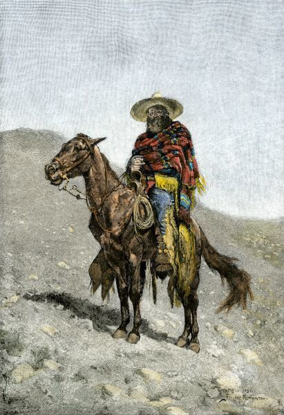 A Mexican vaquero. Hand-colored engraving of a 19th-century Frederic Remington illustration