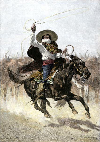 California vaquero galloping to lasso a steer, 1800s. Hand-colored woodcut of a 19th-century Frederic Remington illustration