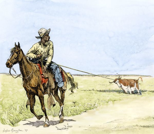African-American cowboy pulling a longhorn out of the mud. Hand-colored engraving of a 19th-century Frederic Remington Illustration