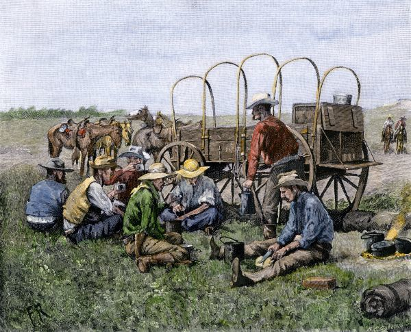 Chuck wagon serving cowboys their midday meal. Hand-colored engraving of a 19th-century Frederic Remington illustration
