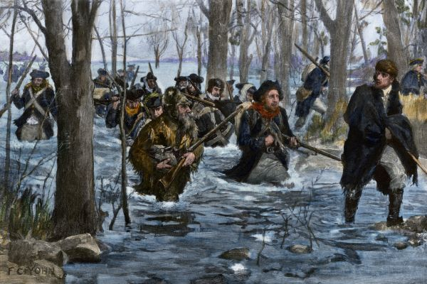 George Rogers Clark leading American forces on the Wabash River during the Revolutionary War. Hand-colored halftone reproduction of a 19th-century F.C. Yohn illustration