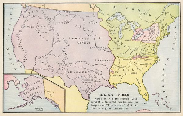Map of Native American tribe locations circa 1715, continental U.S. Printed color lithograph