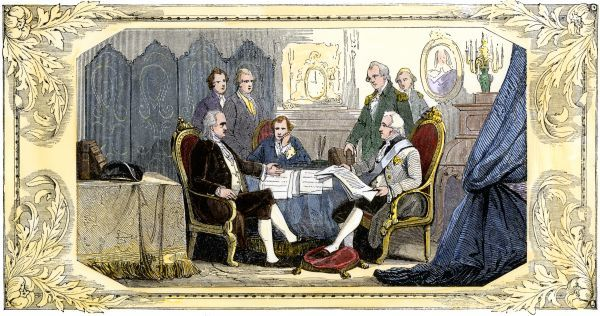 American and French representatives signing a Treaty of Alliance at Paris, American Revolution. Hand-colored woodcut of a 19th-century illustration