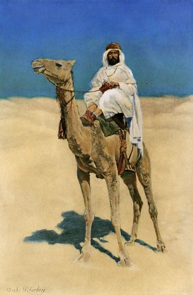 Arab traveling in the desert. Printed color halftone reproduction of an illustration