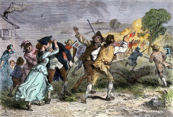 Minutemen leaving for the Battle of Concord, Massachusetts, 1775. Hand-colored woodcut of a 19th-century illustration
