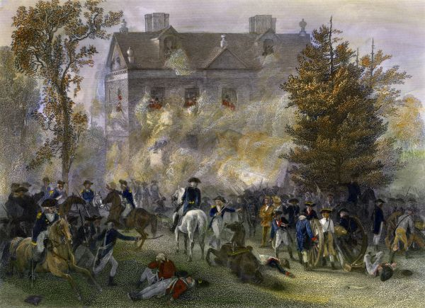 Attack on Judge Chew's house, Battle of Germantown, Pennsylvania, 1777. Hand-colored engraving of a Chappel painting