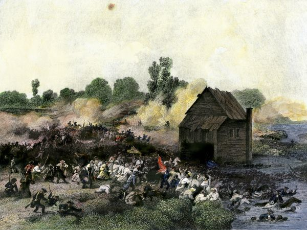 Retreat of American army from Long Island after defeat by the British, 1776. Hand-colored engraving of a 19th-century illustration
