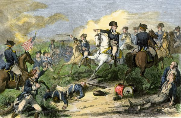 Washington reproving General Charles Lee at the Battle of Monmouth, 1778. Hand-colored woodcut of a 19th-century illustration