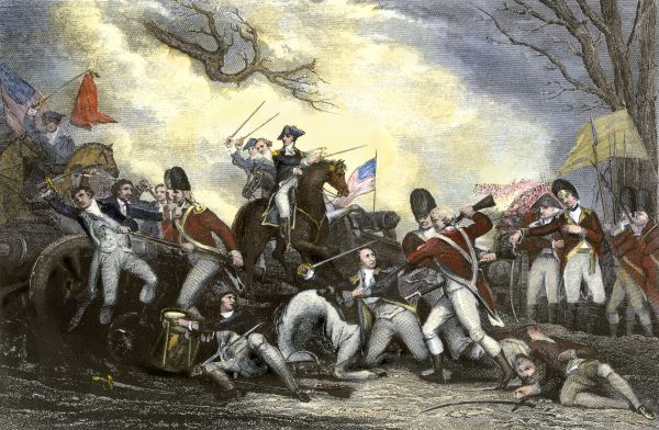 Battle of Princeton, in which General Mercer met his death, American Revolution, 1777. Hand-colored engraving of a 19th-century illustration