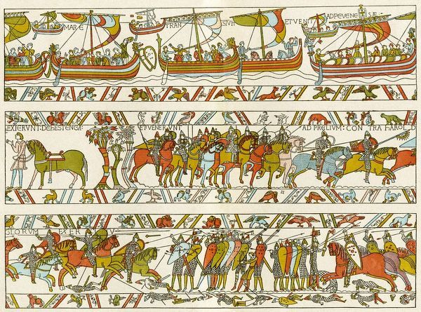 Norman invasion of England in 1066 A.D. Color lithograph reproduction of part of the Bayeux tapestry