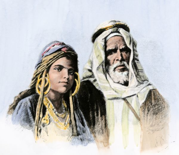 Bedouin father and his daughter. Hand-colored halftone ireproduction of a 19th-century photograph