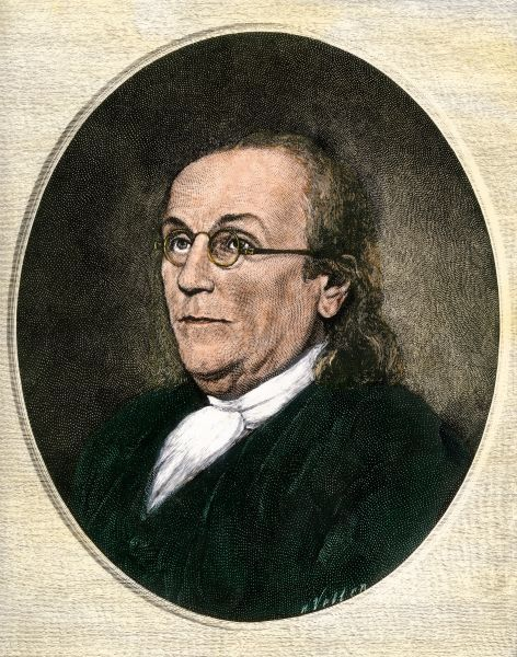 Benjamin Franklin wearing eyeglasses. Hand-colored engraving of a portrait