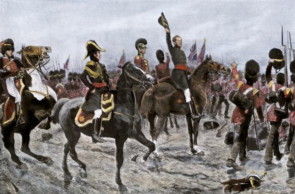 Duke of Wellington ordering the entire British line to advance at the Battle of Waterloo, 1815. Hand-colored halftone reproduction of a 19th-century illustration