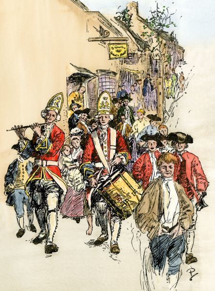 British redcoats in an American colonial city before the Revolutionary War. Hand-colored woodcut of a 19th-century Howard Pyle illustration