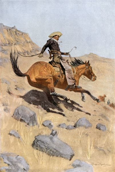 Cowboy riding a bronco on the western range. Printed color halftone reproduction of a Frederic Remington illustration