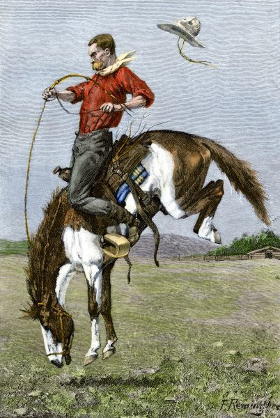 Cowboy riding a bucking horse. Hand-colored engraving of a 19th-century Frederic Remington illustration