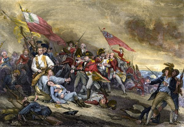 Battle of Bunker Hill at the outset of the American Revolution, 1775. Hand-colored engraving of a painting by Trumbull