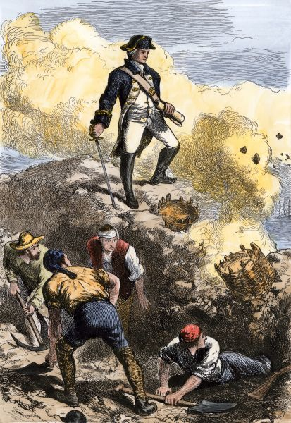 Prescott on the redoubt in defense of Breed's Hill, Battle of Bunker Hill, 1775. Hand-colored woodcut of a 19th century illustration
