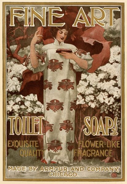 BUSN2A-00039. Ad for Fine Art Toilet Soap, 1901.. Printed color lithograph