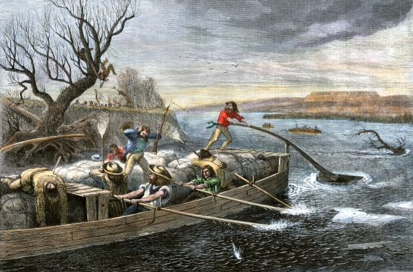 Fur-traders on the Missouri River attacked by Native Americans. Hand-colored woodcut of a 19th-century illustration