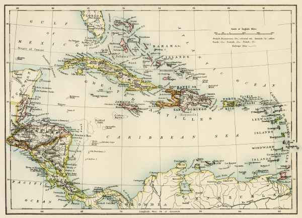 Caribbean islands, 1870s - Map of West Indies and the Caribbean Sea ...
