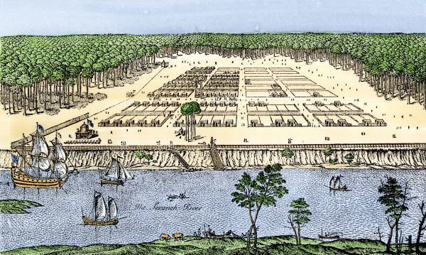 Savannah, Georgia, as established by James Oglethorpe, 1741. Hand-colored 19th-century woodcut reproduction of an earlier sketch