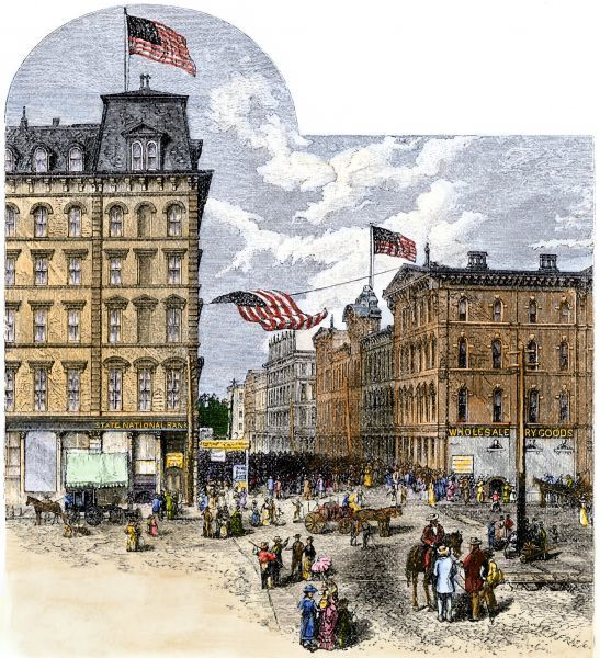 Business center of Atlanta, Georgia, about 1880. Hand-colored woodcut of a 19th-century illustration