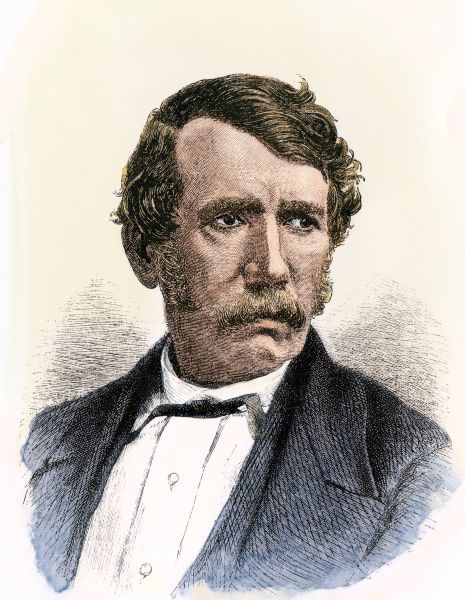 Portrait of missionary and explorer David Livingstone. Hand-colored woodcut reproduction of a 19th-century portrait
