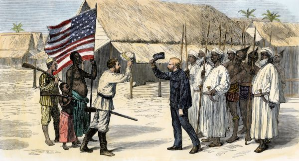 Stanley finding Dr. Livingstone at Ujiji, Tanganyika, 1871. Hand-colored woodcut of a 19th-century illustration