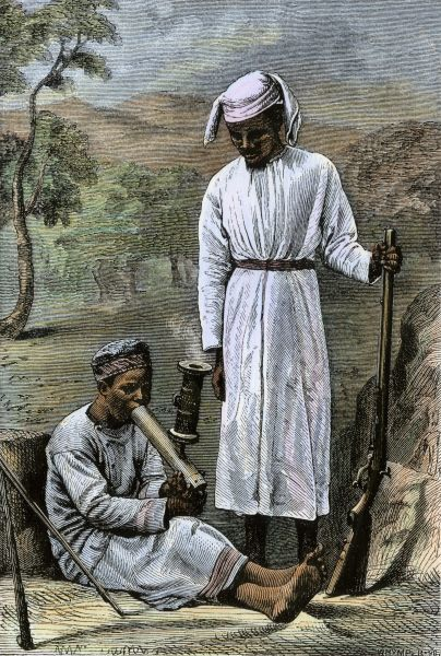 Chuma and Susi, David Livingstone's loyal African servants, 1870s. Hand-colored woodcut of a 19th-century illustration