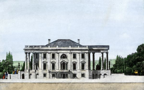 East front of the White House with porticos added, circa 1807. Hand-colored halftone reproduction of a drawing by architect Benjamin H. Latrobe