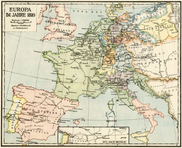 Map of Europe in 1810, during the Napoleonic Wars (in German). Printed color lithograph reproduction of a 19th-century illustration