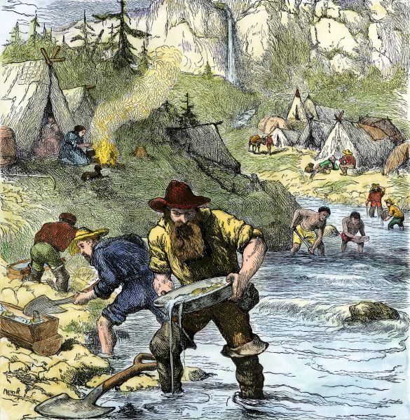 Prospectors panning for gold in the California Gold Rush. Hand-colored woodcut of a 19th century illustration