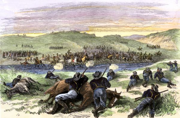 Battle of Beecher Island on the Arikaree Fork between Colonel Forsyth's Buffalo Soldiers and southern Plains Indians led by Roman Nose, 1868. Hand-colored woodcut of a 19th century illustration