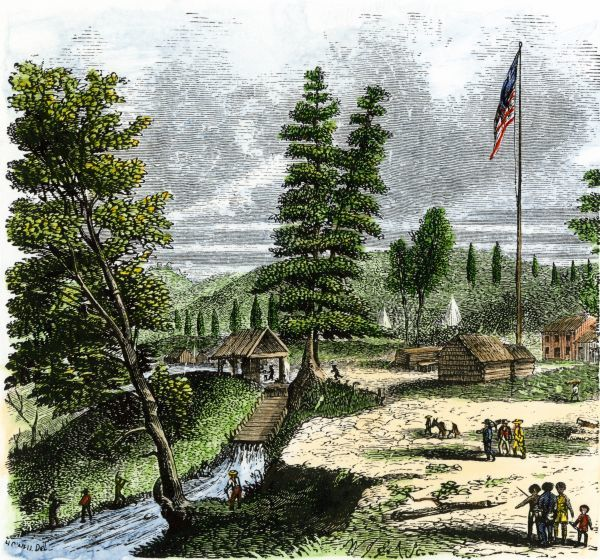 Sutter's Mill, site of James Marshall's discovery of gold in California, 1848. Hand-colored woodcut of a 19th-century illustration