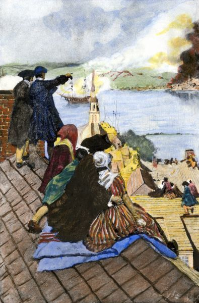 Battle of Bunker Hill viewed by Boston citizens on rooftops. Hand-colored halftone of a 19th-century Howard Pyle illustration