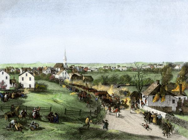 Retreat of the British from Concord, Massachusetts, at the outset of the American Revolution. Hand-colored engraving of a 19th-century illustration