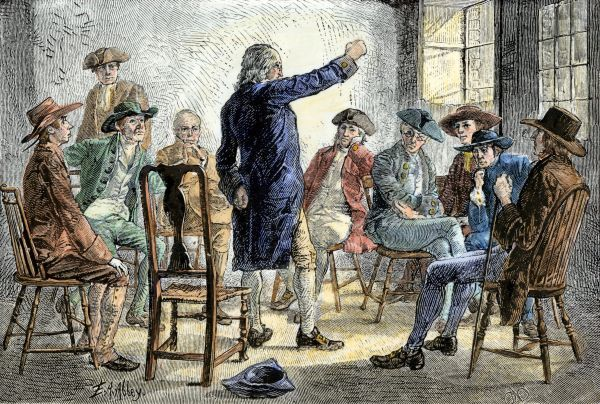 A meeting of colonists protesting British treatment before the American Revolution. Hand-colored woodcut of a 19th century illustration