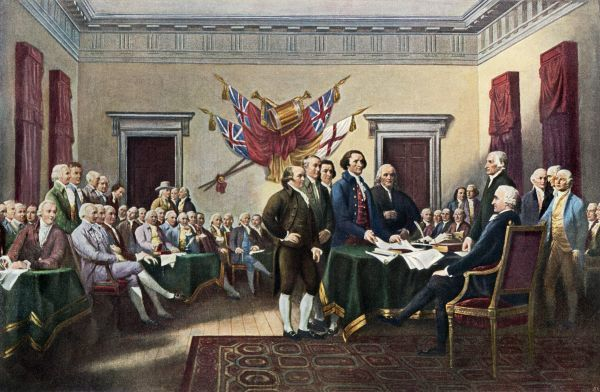 Signing the Declaration of Independence, July 4, 1776. Printed halftone reproduction of Trumbull painting