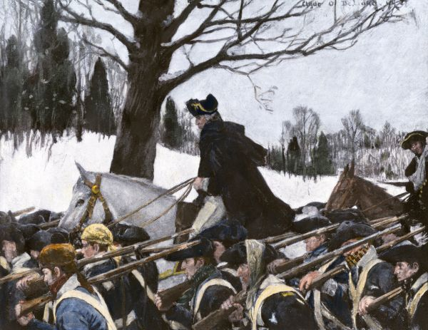 George Washington marching the Continental Army to Valley Forge winter camp. Hand-colored halftone of a 19th-century illustration