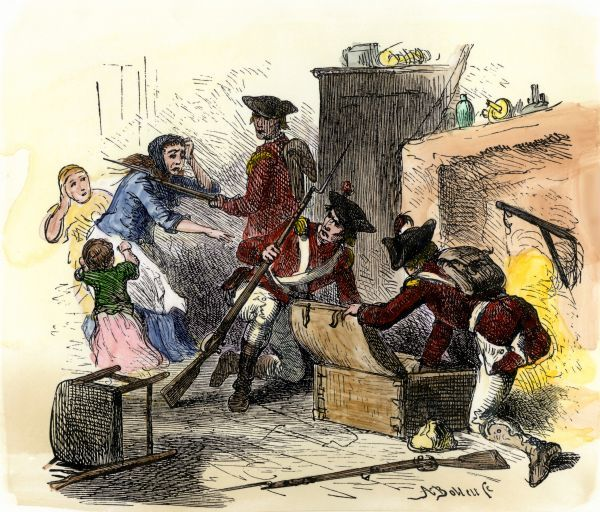 British soldiers plundering an American colonist's home under the Quartering Act, 1700s. Hand-colored woodcut of a 19th-century illustration