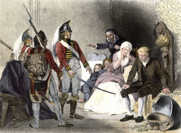 British soldiers quartered in an American colonial home, 1770s. Hand-colored engraving of a 19th-century illustration